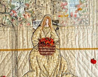 Folklore wall decor, Original Textile Art, neutral beige, fruit apples, apple tree, summer fading away, wall hanging, rustic autumn