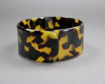 Tortoise Celluloid Bracelet, Flexible Cuff, Art Deco Style, Vintage Plastic Jewelry