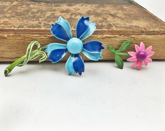 Enamel Flower Brooch - Set of 2 Vintage Floral Pins - Pink Blue Green