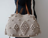 Light grey  Crochet Bag  Tote Bag Shoulder Bag  Leather Bag  Handmade Bag Cotton Bag Summer Bag- Gift For Her Women Valentine's Day gift