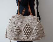Light grey  Crochet Bag  Tote Bag Shoulder Bag  Leather Bag  Handmade Bag Cotton Bag Summer Bag- Gift For Her Women Valentine's Day gift