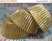 XOXO SALE 50 Gold Foil Cupcake Liners, Gold Foil Baking Cups, Holiday Cupcake Liners, Foil Lined Baking Cups Professional Grade and Greasepr