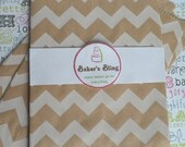 XOXO SALE 50 Kraft Brown Chevron Party Bags, Kraft Brown Candy Bags, Kraft Brown Chevron Popcorn Bags, Favor Bags, Gift Bags