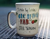 """J.R.R. Tolkien """"Little by little, one travels far."""" Hand painted quote mug - Small, cream coffee cup with branches and flowers - LOTR"""