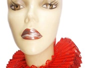 Ruffled Collar Queen Of Hearts Alice Elizabethan Neck Ruff Victorian Steampunk Edwardian Tudor