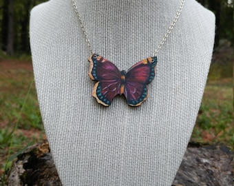 Flutterby Butterfly Necklace (Plum)