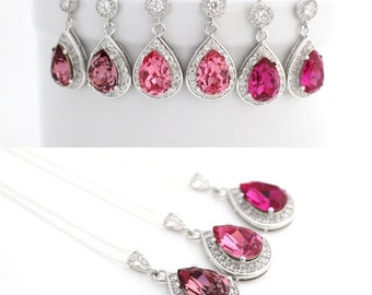 Pink Bridal Jewelry Set, Rose Bridesmaid Jewelry, Fuchsia Wedding Jewelry, Swarovski Teardrop Earrings and Necklace, Pink Wedding Ideas