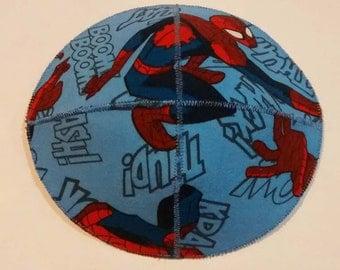 Spiderman Saucer Kippah Yarmulke Blue Comics Words