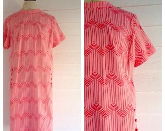 Vintage Pink MOD 60s Dress w Retro Print L