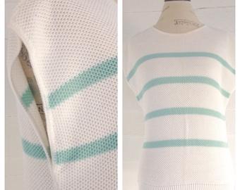 Vintage 80s White Striped Sleeveless Sweater