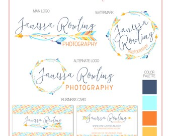 Premade Business Logo - Boho Arrows & Feather Branding Set - Watermark - Photography - Customizable - Predesigned