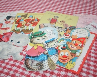 7 Seven Vintage Children's Birthday Cards Used and Signed