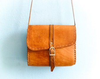 Vintage Leather Purse Bag Satchel Caramel Light Brown Tan Tanned Hippie Boho Folk 70s / small