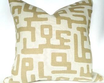 Cream Tan Decorative Pillows 18 x 18 Sofa Pillow Home Decorating Invisible Zipper / READY TO SHIP