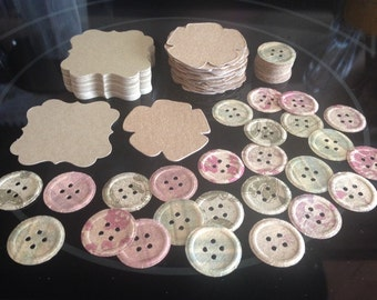 Scalloped Kraft Diecut Cardstock ~ Kraft Chipboard Flower Diecut ~ Patterned Kraft Coloured Cardstock Button Diecut Shapes