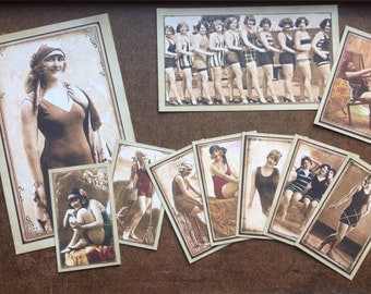 Vintage Themed Ladies Photo Mats - Gift Tags - Graphic 45 paper - On the Boardwalk Collection - varied sizes Bathing Beauties - Lovely Lady