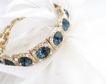 Wedding Bracelet, Montana Blue, Rhinestone Bracelet, Bridal Bracelet, Bracelet, Wedding, Pearl Jewelry, Rhinestone Jewelry, Bridal Jewelry