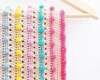 Crochet Pattern Bobble Stitch Blanket - Instant Download