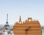 Clock - Paris - Eiffel Tower, Arc de Triomphe, Wall Clock