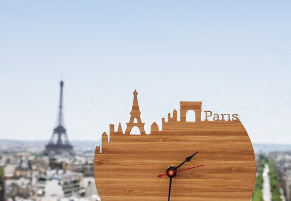 Paris Clock - Eiffel Tower, Arc de Triomphe, Modern Wall Clock - Large Clock - Walnut or Cherry Wood Clock