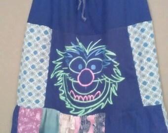 Animal tee skirt/ upcycled clothing/ Eco friendly clothing/ Black/ Pink