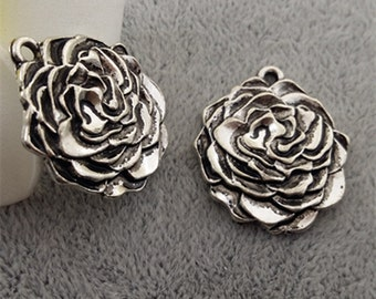 20  pcs antique silver lovely rose flower charms-F1571