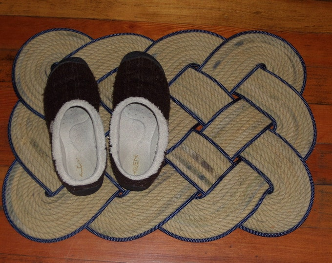"Knotted Rope Mat 20 x 20"" Tan with Navy Accent Trim Rope Rug Recycled Rope Inside or Outside Rug 100% Eco Friendly Repurposed Rope Nautical"
