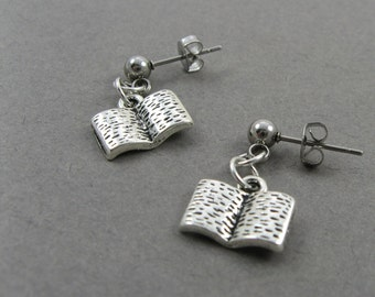 Tiny Books - Bookish Post Earrings for Tween or Teen Reader - Literary Jewelry for Librarian, Teacher, Bookworm