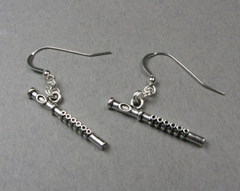 Flute Earrings - Music Jewelry for Marching Band, Flutist, Flautist, Flute Player Gift for Music Lover