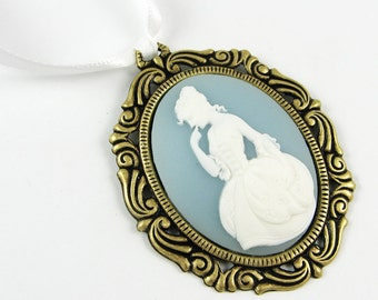 Vintage Style Ornament - Classic Cameo Christmas Decor with Victorian Lady in Light Blue and White