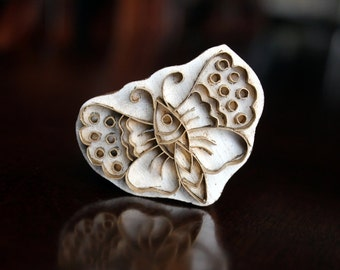 Handmade Indian Wood and Brass Textile Stamp- Butterfly