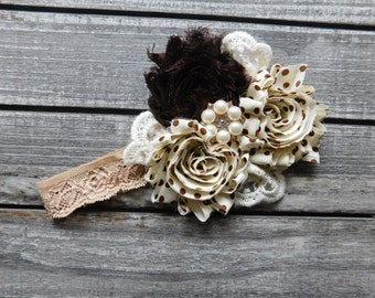 Vintage Style Baby Girl Headband Cream, Brown, Beige Chiffon Flowers, Lace, Pearls, Rhinestones