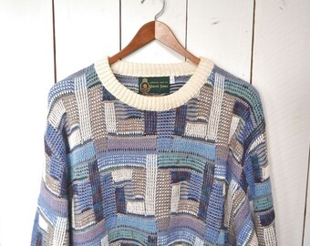Coogi Style Sweater 1980s Cosby Vintage Patchwork Slouchy Cotton Knit Bably Blue Pullover Large XL