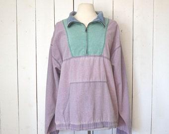 Color Block Windbreaker Jacket Vintage Early 90s Purple Pullover Jacket Large to 2XL