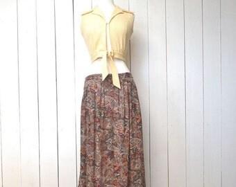 90s Maxi Skirt Paisley Print Vintage Boho Hippie Pocket Dark Beige Pocket Skirt Medium Large