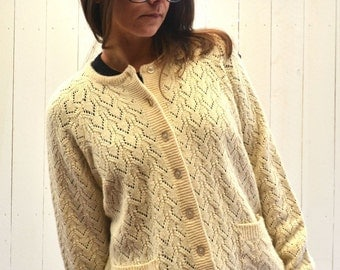 Knit Cardigan Sweater 1970s Vintage Cream Slouchy Button Up Pocket Sweater Jacket Large XL