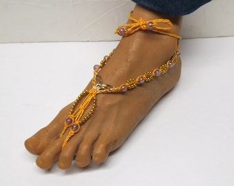 CLEARANCE! Pair of Gold, purple and yellow butterfly barefoot sandals made with hemp.  Beach and bellydance fashion. HFT-A252