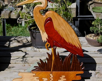 Hardwood Heron Intarsia Wall Art