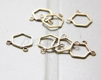 8 Pieces / Raw Brass / Hexagon / Honey Comb / 2 Loops / Charm  - 12mm (C3207//-F55)