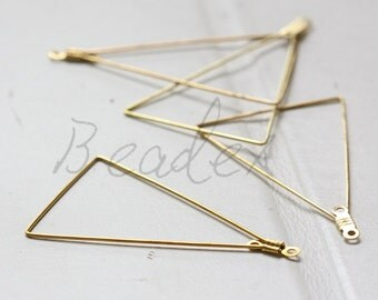 10 Pieces / Raw Brass / Pendant / Charm / Earring Component / Triangle (C3293//F97)