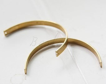 10 Pieces / Raw Brass / Brass Base / Curved Link / Half Circle / Open Circle (C3068//S255)