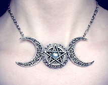Triple Moon Necklace, triple goddess, pentagram necklace, wicca, wiccan jewelry, pagan necklace, magick, occult, pentacle, talisman, witch
