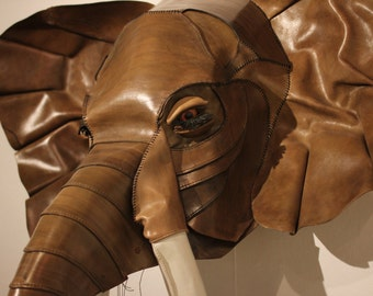 Life-Sizerd Hand-stitched Leather Elephant's Head