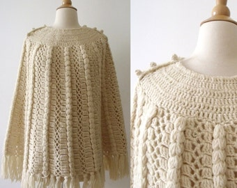 60's Crochet Ivory Wool Fringe Button-Up Poncho