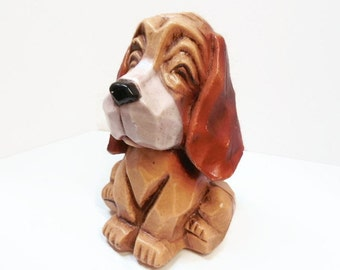 Cute Blow Mold Plastic Hound Dog Bank