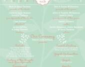 Mint and Coral Love Bird Wedding Programs, Budget Wedding Invitations, Custom Listing for jillianraymond7