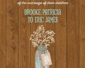 Babys Breath Wedding Invitations, String Light Wedding Invites, Rush Custom Listing for bpw0929