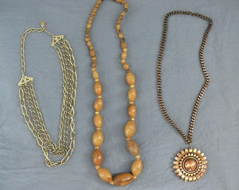 Lot 3 Vintage 70s Necklaces Copper Gold Wood Beaded Multi Chain Bohemian