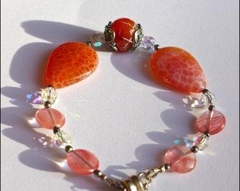 Dazzling Tangerine Crab Fire Agate, Cherry Quartz Bracelet (B735)
