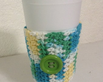 Coffee Cozy - Aqua/Yellow/Green  (0316)